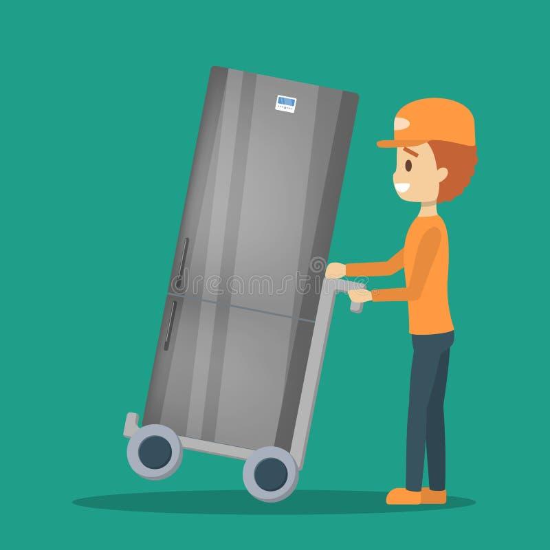 Hombre de entrega en uniforme con el refrigerador mensajero ilustración del vector