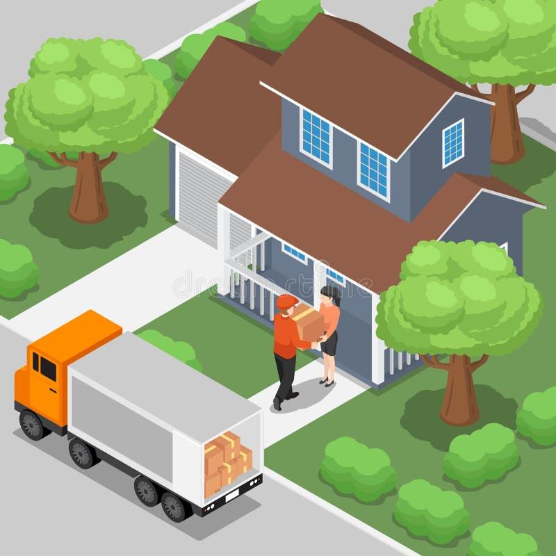 Hombre de entrega que envía la caja de los productos al cliente en el hogar libre illustration