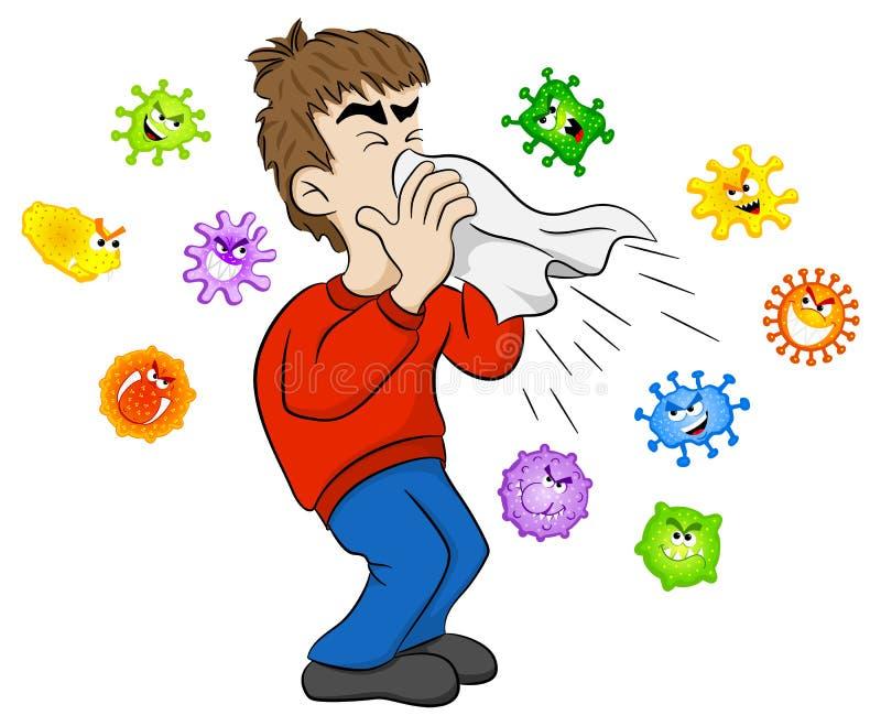 Hombre de estornudo con los gérmenes stock de ilustración