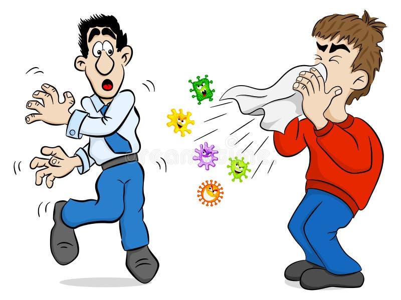 Hombre de estornudo con los gérmenes ilustración del vector