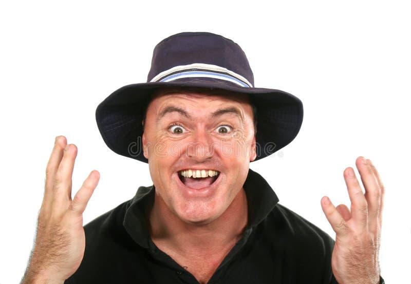 Hombre de Eureka en sombrero fotos de archivo