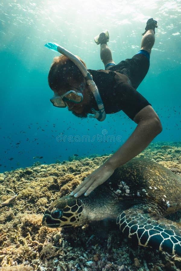 Hombre de Freediver con la tortuga de hawksbill, fotografía subacuática foto de archivo libre de regalías