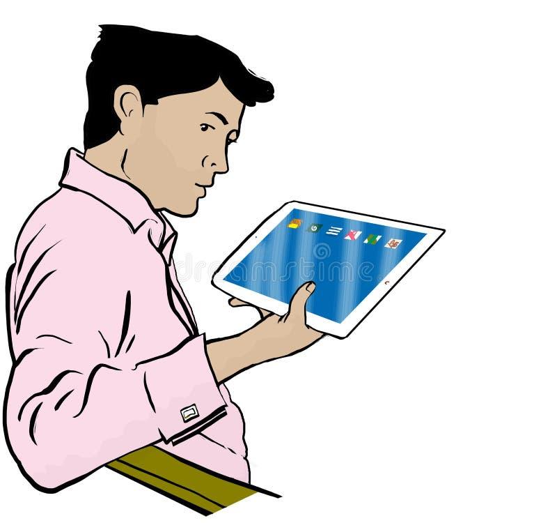 Hombre de Ipad libre illustration