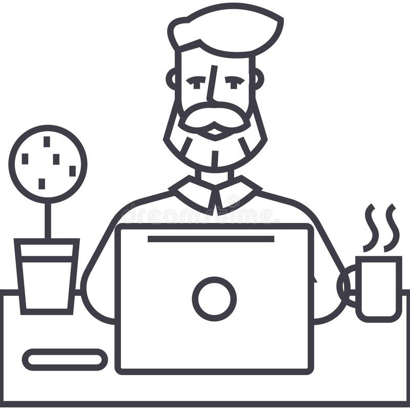 Hombre de la barba que trabaja en la tabla con la línea icono, muestra, ejemplo del vector del cuaderno en el fondo, movimientos  libre illustration