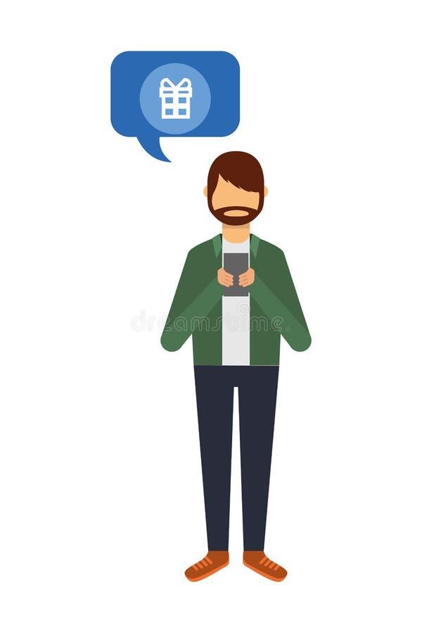 Hombre de la barba usando burbuja del discurso del regalo del smartphone libre illustration