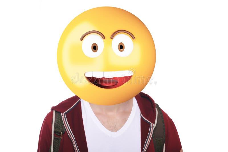Hombre de la cabeza de Emoji sorprendido fotografía de archivo