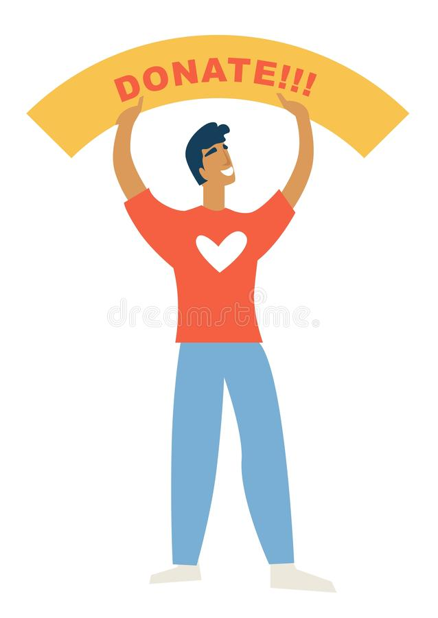 Hombre de la caridad con donar ayuda de la bandera y la ayuda humanitaria stock de ilustración