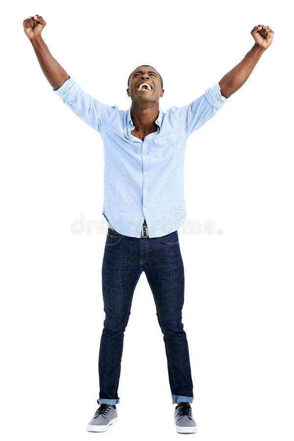 Hombre de la celebración de la alegría foto de archivo