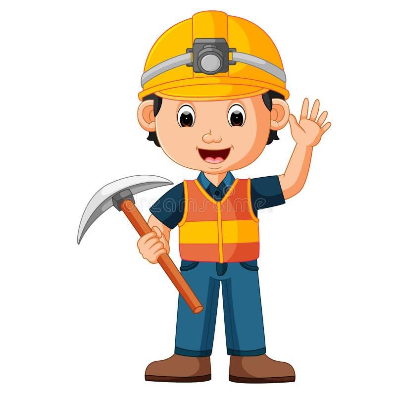Hombre de la construcción que sostiene el hacha ilustración del vector