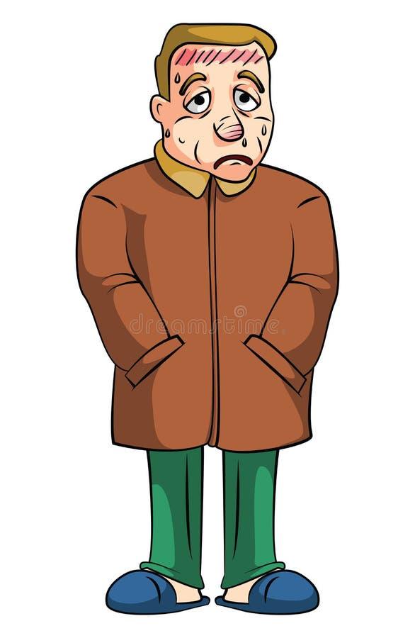 Hombre de la fiebre stock de ilustración