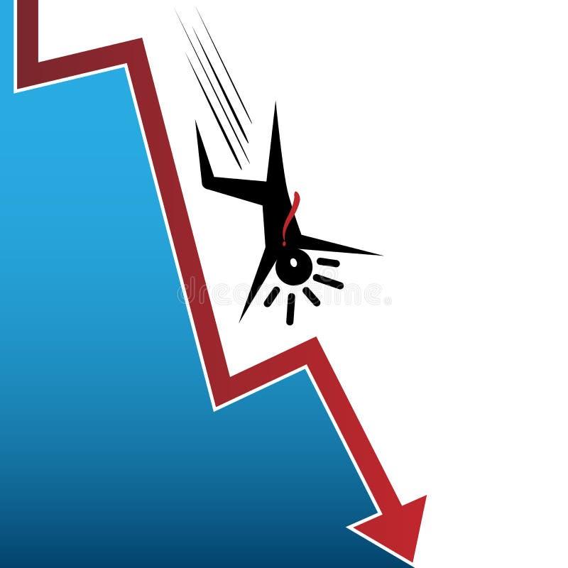 Hombre de la flecha del mercado de acción que cae stock de ilustración