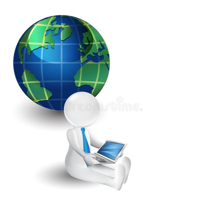 hombre de la gente blanca 3d con el ordenador portátil Logotipo en línea del icono del concepto del negocio ilustración del vector