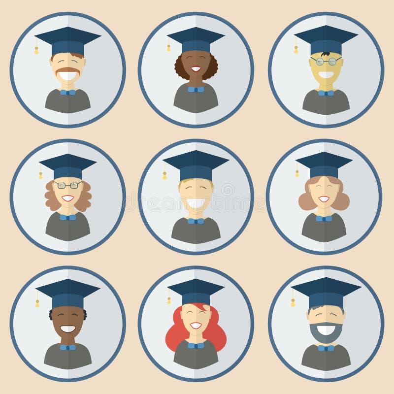 Hombre de la graduación y sistema del icono de la educación de las mujeres ilustración del vector