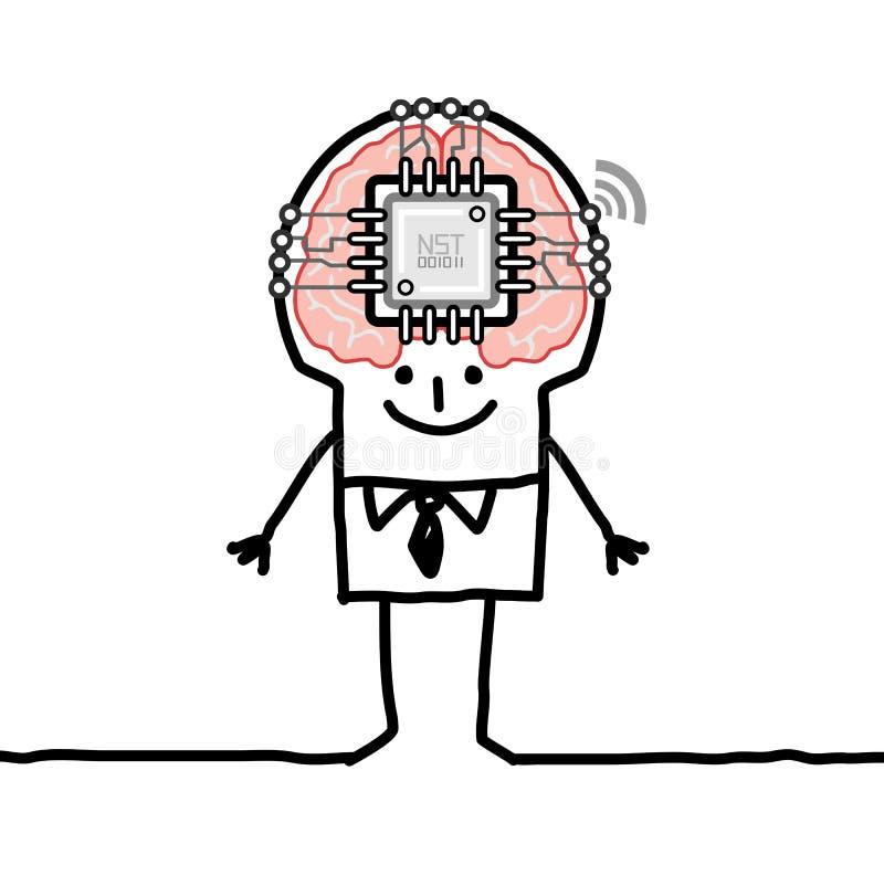 Hombre de la historieta con el cerebro y el microchip grandes ilustración del vector