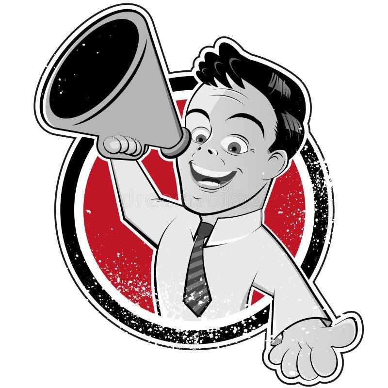 Hombre de la historieta con el megáfono ilustración del vector