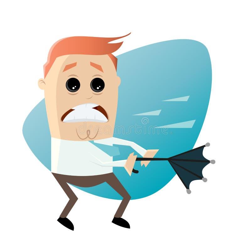 Hombre de la historieta con el paraguas en el clima tempestuoso ilustración del vector