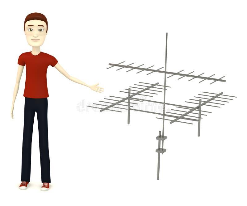 Hombre de la historieta con la antena ilustración del vector