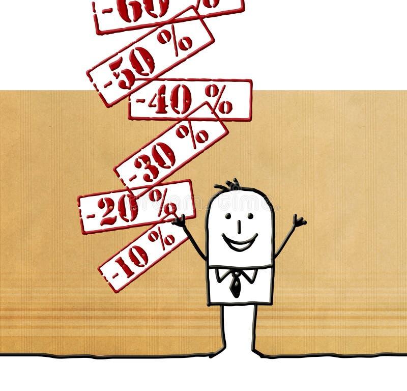 Hombre de la historieta con las etiquetas de tasación de descuento stock de ilustración