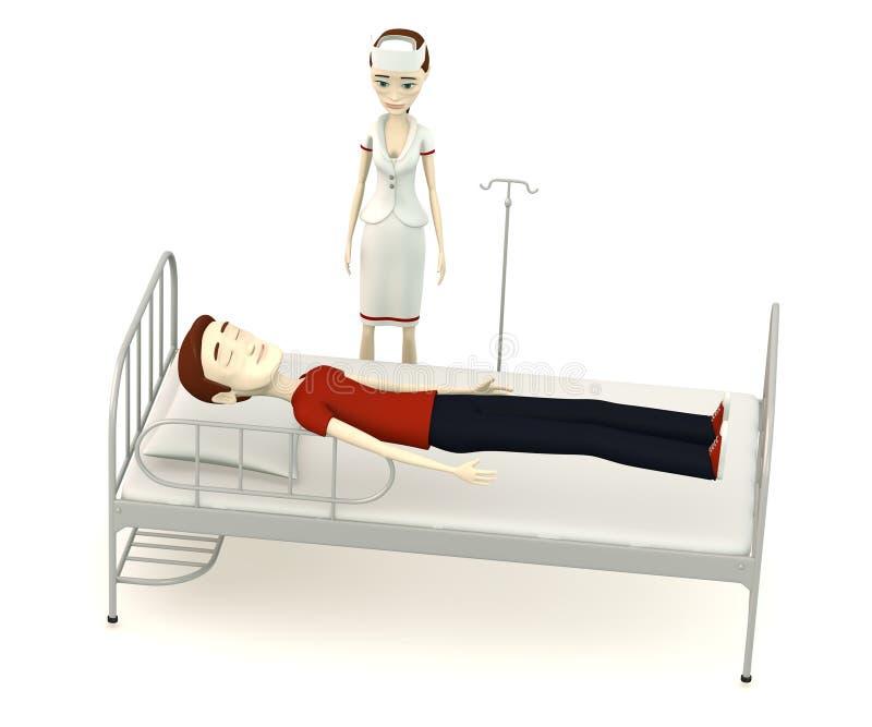 Hombre de la historieta en cama de hospital con la enfermera stock de ilustración