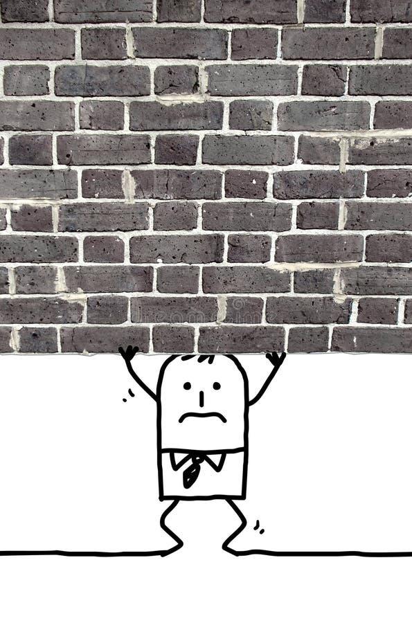 Hombre de la historieta machacado y que se coloca debajo de una pared ilustración del vector