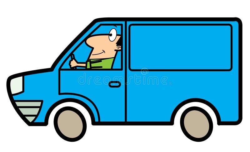 Hombre de la historieta que conduce un carro stock de ilustración