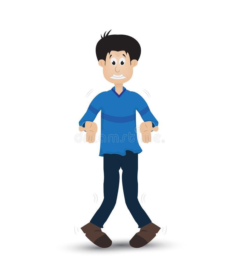 Hombre de la historieta que muestra la expresión stock de ilustración