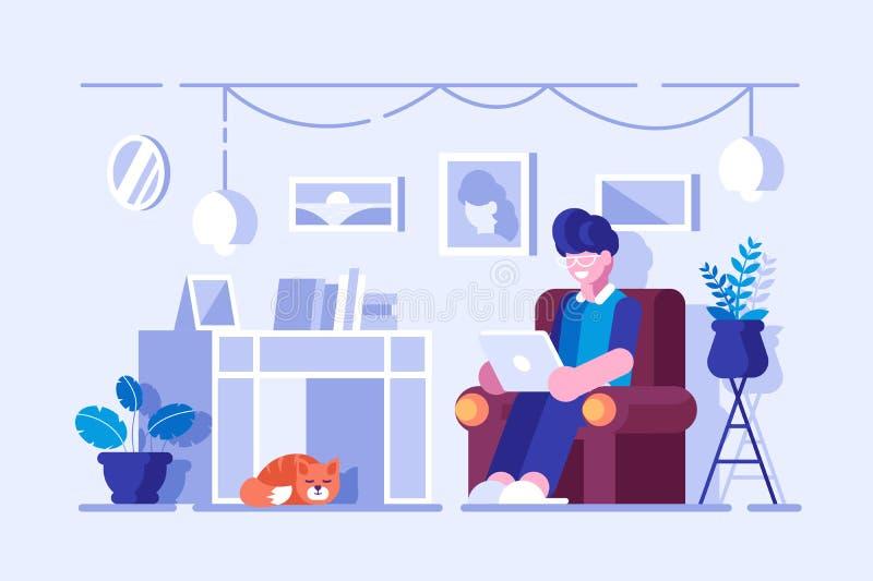 Hombre de la historieta que pasa tiempo libre en casa libre illustration