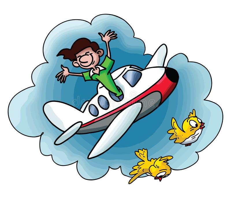 Hombre de la historieta que viaja por el avión que va en un vector de las vacaciones ilustración del vector