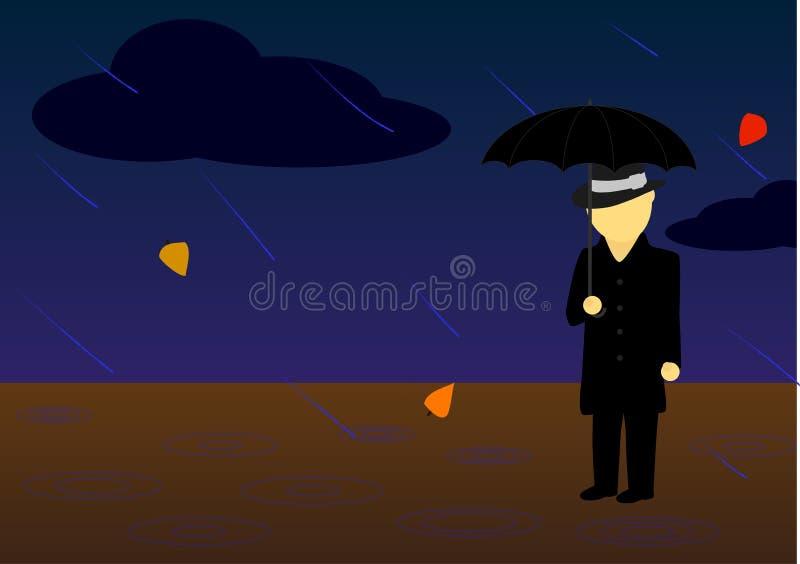 Hombre de la lluvia Vector fotos de archivo