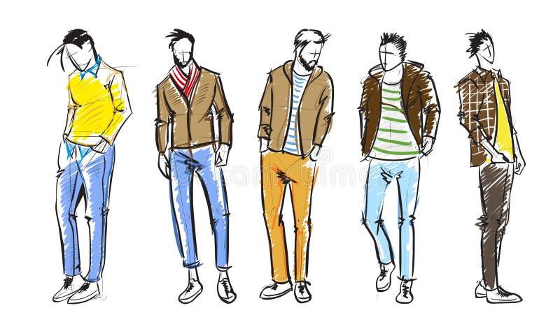 Hombre de la manera Bosquejos de los hombres de la moda en un fondo blanco stock de ilustración