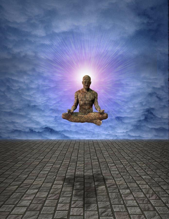 Hombre de la meditación stock de ilustración
