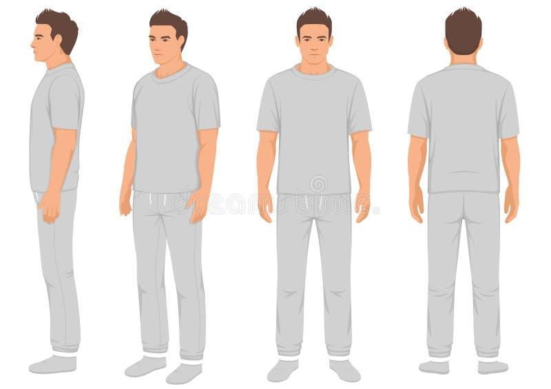 Hombre de la moda de la ropa de deportes aislado, frente, parte posterior y vista lateral, ejemplo del vector libre illustration