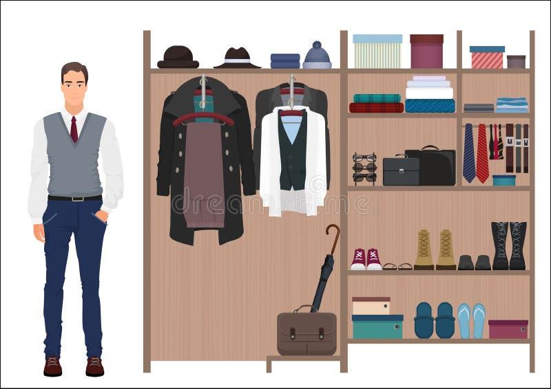 Hombre de la moda y guardarropa elegantes del ` s de los hombres Diseño del vestuario del ` s de los hombres del vector Ropa y za stock de ilustración