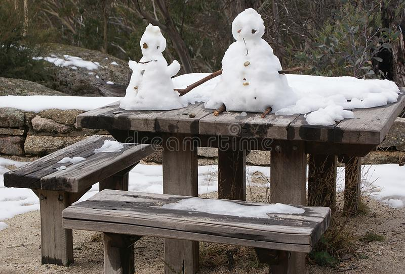 Hombre de la nieve y señora de la nieve imagen de archivo