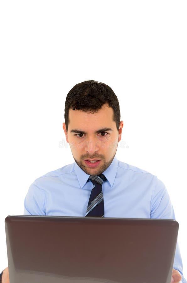 Hombre de la oficina con el ordenador portátil fotografía de archivo libre de regalías