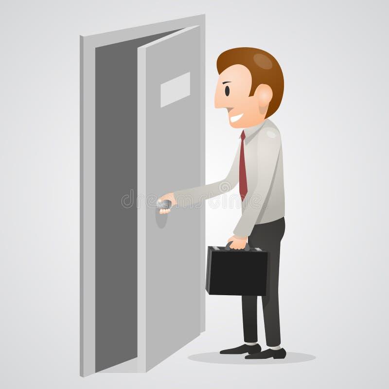 Hombre de la oficina que abre una puerta ilustración del vector
