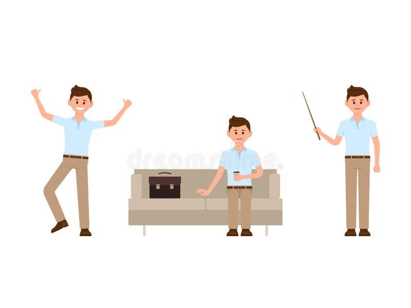 Hombre de la oficina que se sienta en el sofá, salto, colocándose con el personaje de dibujos animados de madera del indicador Ej ilustración del vector