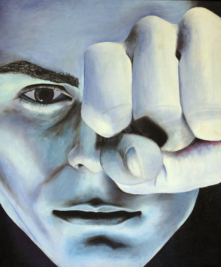 Hombre de la pintura con el sacador stock de ilustración