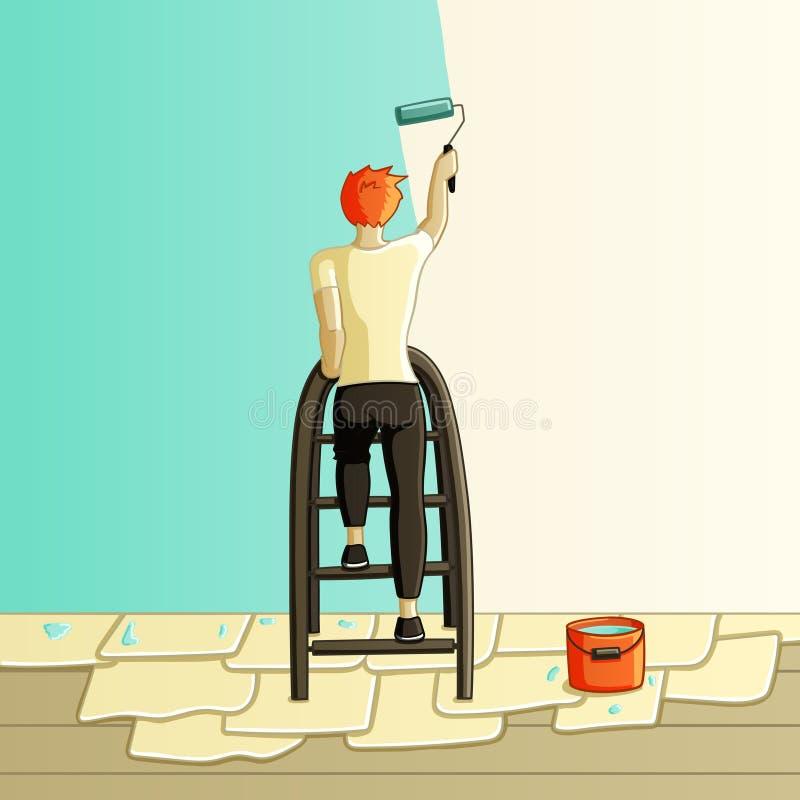 Hombre de la pintura de pared ilustración del vector