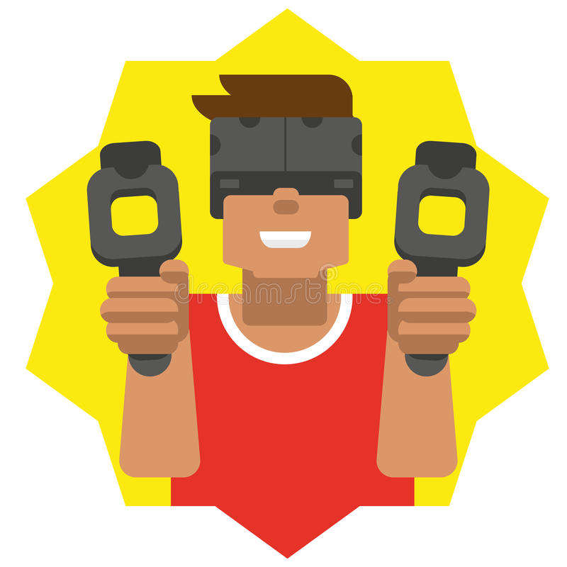 Hombre de la realidad virtual fotos de archivo libres de regalías