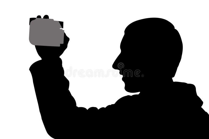 Hombre de la silueta con el digicam stock de ilustración