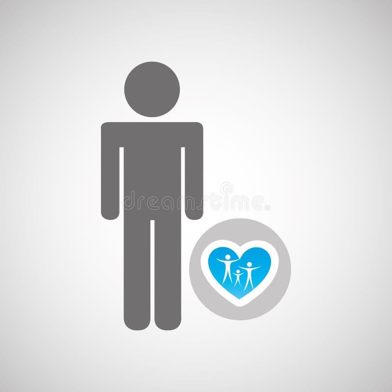 hombre de la silueta con el gráfico de la salud del cuidado de la familia libre illustration