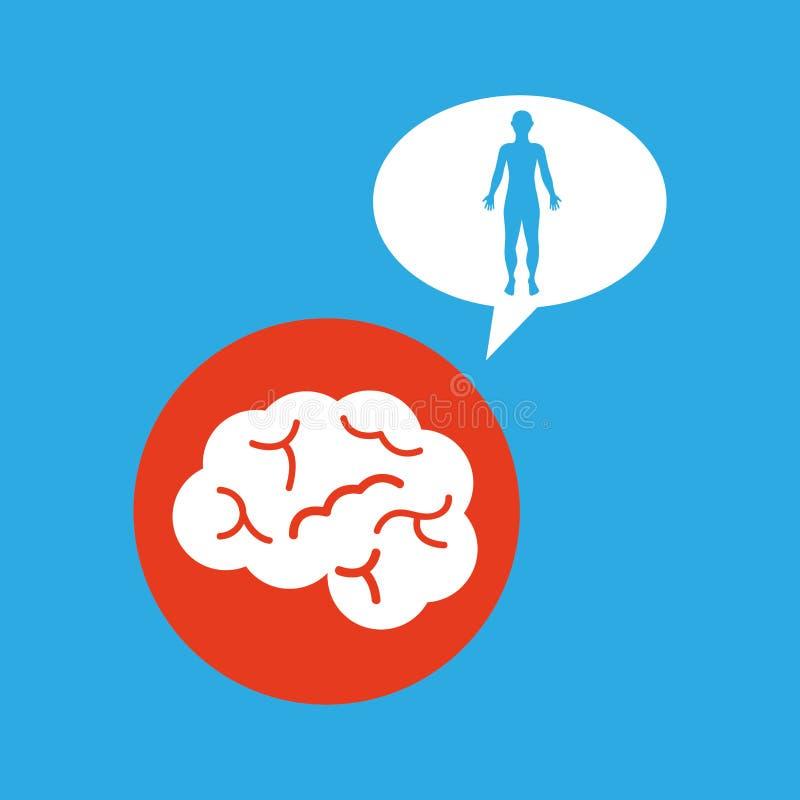 Hombre de la silueta con el icono del cuerpo del órgano del cerebro ilustración del vector