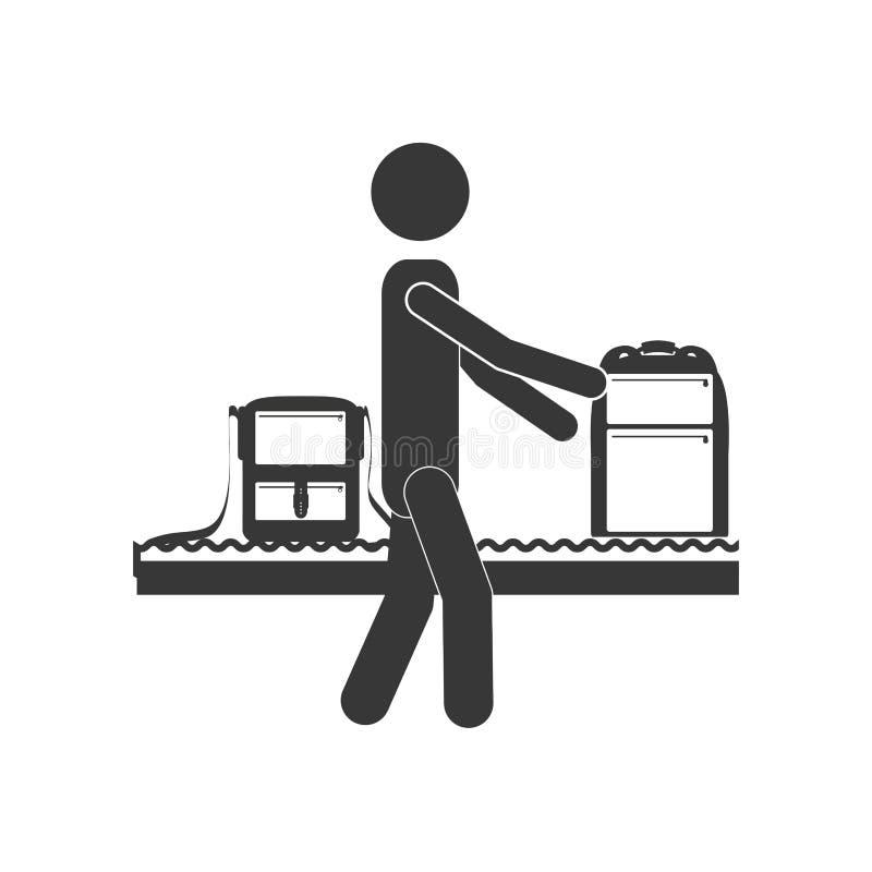 Hombre de la silueta con la banda transportadora del equipaje libre illustration