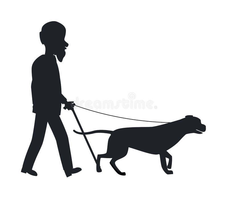 Hombre de la silueta de la guía del perro viejo que lleva a cabo vector del animal doméstico stock de ilustración