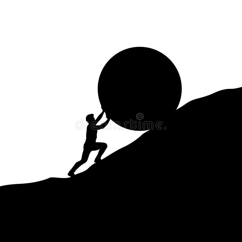 Hombre de la silueta que empuja hacia arriba la colina libre illustration