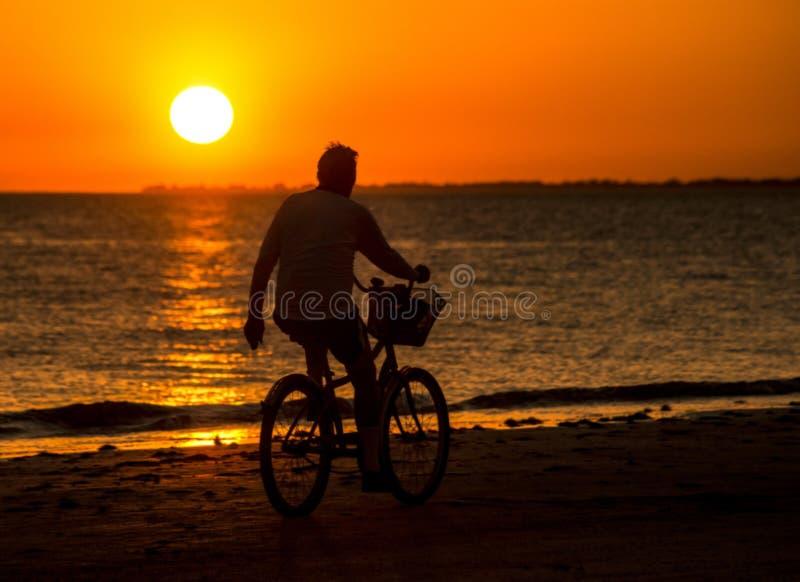 Hombre de la silueta que monta una bicicleta en la playa en la puesta del sol imagen de archivo
