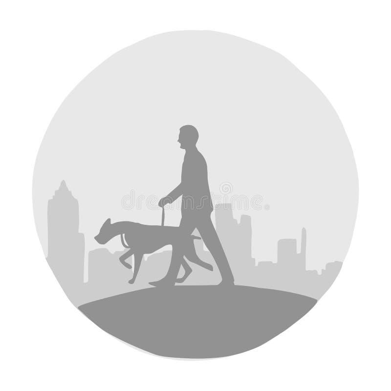 Hombre de la silueta y su perro con el ejemplo del vector del paisaje urbano con las líneas negras aisladas en el fondo blanco s stock de ilustración