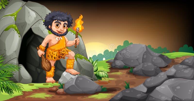 Hombre de las cavernas stock de ilustración
