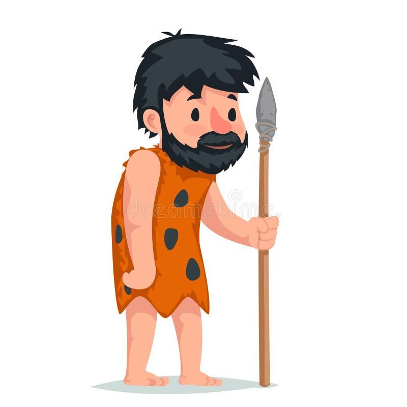 Hombre de las cavernas antiguo con el ejemplo de piedra del vector del diseño de la historieta del icono del carácter de la lanza libre illustration